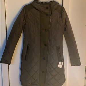 Kensie Button Side Quilted Jacket (XS) Olive